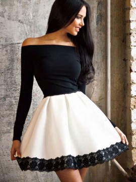 black-and-white-lace-stitching-elastic-waist-off-shoulder-mini-princess-dress-with-long-sleeve1